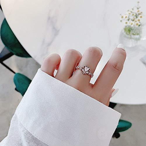 BNFG Ringe Offener Damen,Damen Verstellbar Offene Ringe Rosenquarz Herz Design Roségold Ring Mode Engagement Ewigkeit Schmuck Geschenk Für Frauen Mädchen