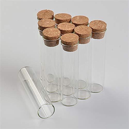 Frascos de almacenamiento de botellas de tubo de ensayo, botellas de vidrio vacías, transparentes con tapón de corcho, frascos de vidrio, 50 unidades por lote, 22 x 120 mm, 30 ml