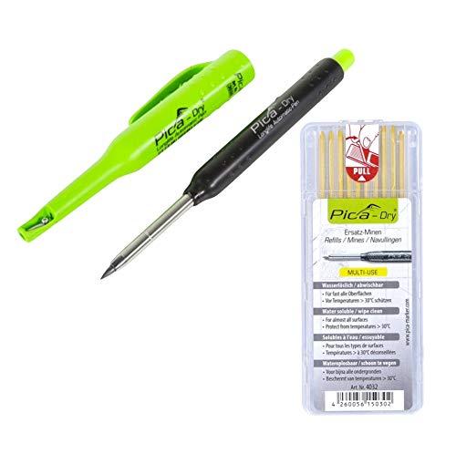 Pica DRY Longlife Automatic Pen Tieflochmarker (3030) + 10 tlg. Ersatz Minen Set Wasserlöslich Gelb (4032)