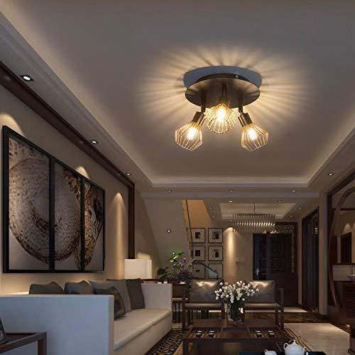 Pwshymi Lámpara de Techo AC85-265V Resistente de Moda para Sala de Estar(10W Warm White Light, Three Heads, Insect)