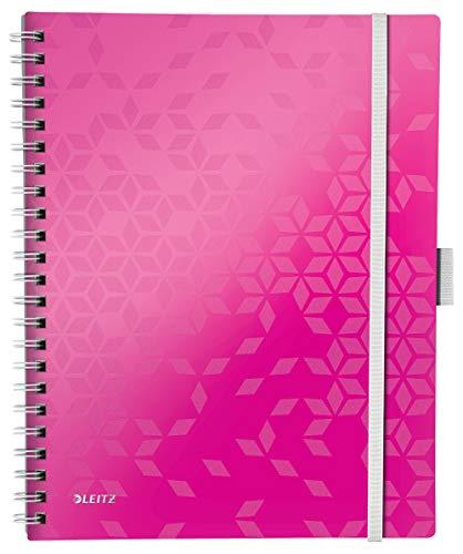 Leitz 46450023 Kollegblock WOW Be Mobile, A4, PP, kariert, pink metallic