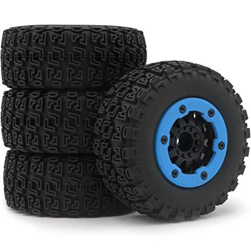 hobbysoul 4pcs 1/10 RC 2.2/3.0 Short Course SC Tires & Hex 12mm Beadlock Wheels Blue Color plastice Rims