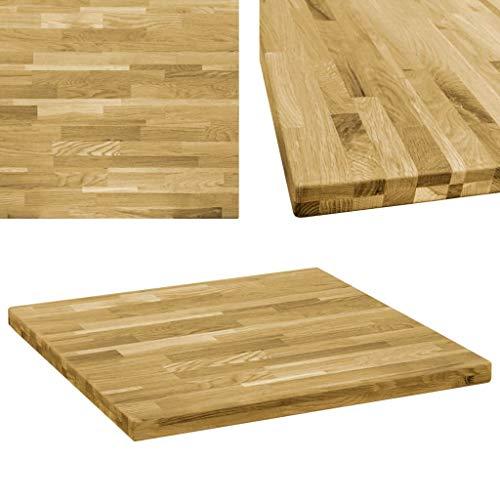 vidaXL Eichenholz Tischplatte 44mm 80x80cm Holzplatte für Couchtisch Esstisch