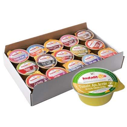 Indalitos - Tomate Natural con Aceite de Oliva Virgen Extra y Ajo - Bandeja 30 Monodosis 25 g