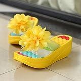ypyrhh Chanclas casuales para hombre, sandalias de playa de arena, flores gruesas de tacón alto, color amarillo, 38, zapatos de casa para piscina