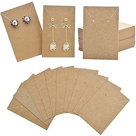 EXCEART 400 St/ück Ohrring Karte Katzenschmuck Display Karten Leere Kraftpapier-Tags f/ür Ohrstecker Ohrringe Und Schmuck Display