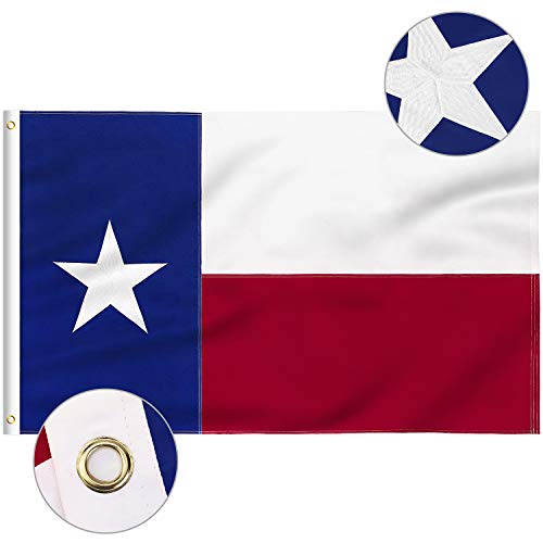 FLAGBURG Texas Flag 3x5 FT TX Flags with Embroidered Star Sewn Stripes Not Print Canvas Header amp Brass Grommets 100% HighGrade Outdoor Nylon for AllWeather Outdoor Display
