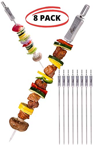 BBQ Skewers Stainless Steel 17 in Long Large Brazilian Style Travel Bag 8-Pack