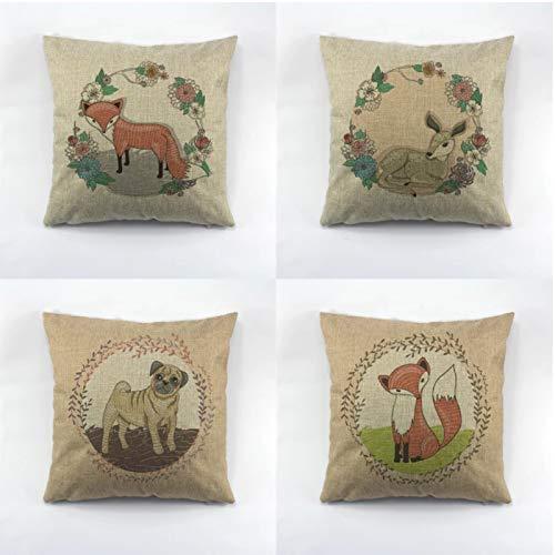 Funda de cojín de lino con diseño de perro de ciervo, diseño de perro de zorro verde y rosa con auriculares de 45 x 45 cm
