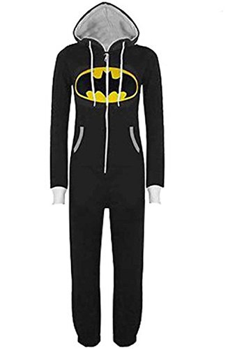 Damen Herren Overall Jumpsuit Sleepsuit Superman & Batman mit Kapuze Pyjamas Kostüm Cosplay Homeware Sleepsuit Schlafanzug Unisex Overalls (S, Schwarz)