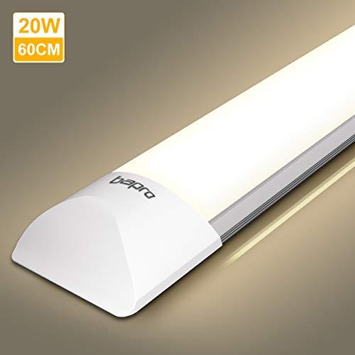 20W LED Feuchtraumleuchte 60CM, bapro LED Röhre 2000LM Leuchte 4000K Werkstattlampe 180°Abstrahlwinkel Deckenleuchte für Küche Badzimmer Wohnzimmer und Warenhaus [Energieklasse A++]