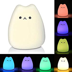 LUNSY LED Battery Night Light for Kids Baby Children, Warm White and Color Changing Tap Light, Silicone Night Light, Cute Kitty Cat Touch Lamp for Bedroom Living Room