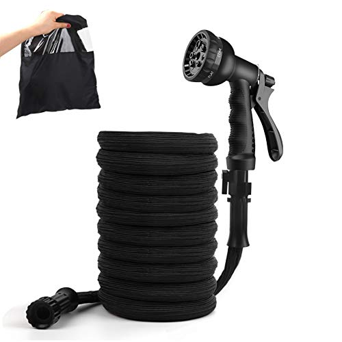 Freehawk Expandable Garden Hose, Flexible Lightweight Water Hose, 8-Mode Spray Nozzle, Triple Layer Latex Core,Nylon-Elastic Shell with Storage Bag (25ft)