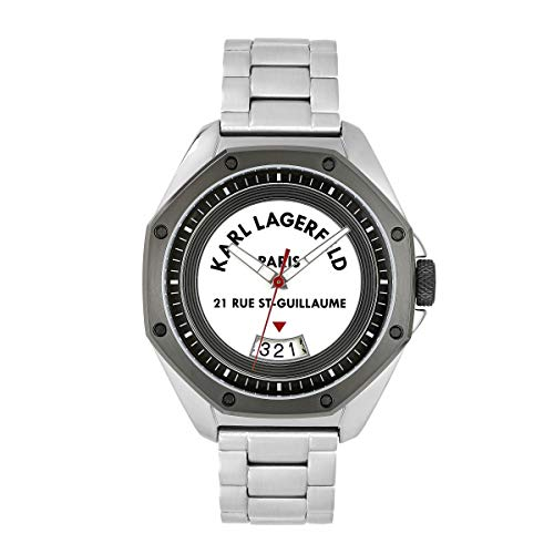 KARL LAGERFELD Men's S/S & GM Rue St. Guillaume White Dial Bracelet Herrenuhr, 40mm, Quarz - 5552764