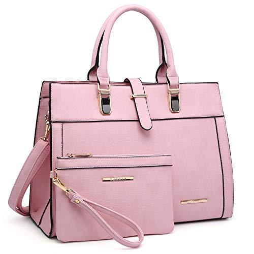 Women's Handbag Flap-over Belt Shoulder Bag Top Handle Tote Satchel Purse Work Bag w/Matching Wristlet (Pink)