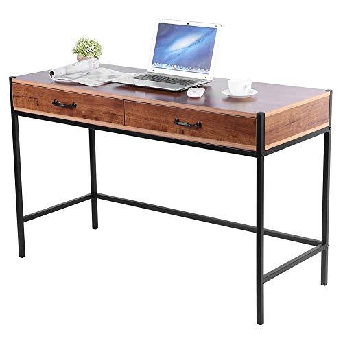 Escritorio para ordenador con 2 cajones, mesa de oficina para PC de madera MDF de fácil montaje, mesa para ordenador para casa, oficina, estudio, con patas de metal, 120 x 48,5 x 76 cm