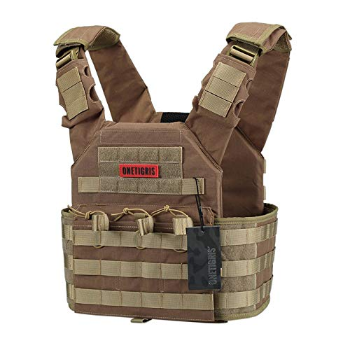 OneTigris PLPC Plate Carrier Advanced Version 500D Nylon MOLLE Tactical Vest for Paintball Airsoft Wargame CS Outdoor (Coyote Brown)