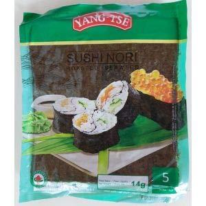 YANG-TSE - Algas Nori Sushi 5s - Ideal para Hacer Sushi- 14 Gramos