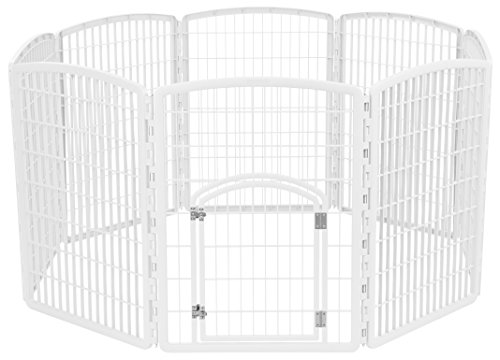 IRIS USA 34'' Exercise 8-Panel Pet Playpen with Door, White CI-908