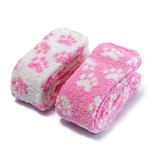 LittleForBig Süßes Tier Koralle Samt Oberschenkel/Knie-Lange Pfoten Patten Socken Kniestrümpfe 2 Paare