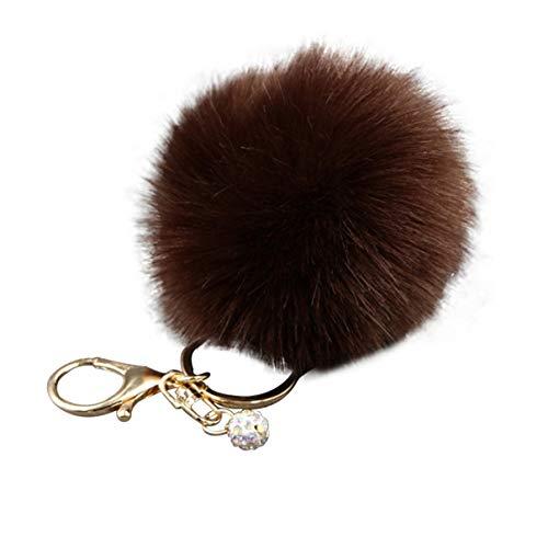 Moiraurs Schlüsselanhänger, Kunstfell, Bommel für Damen, Handtaschen-Anhänger, Dunkles Kaffeebraun Dce