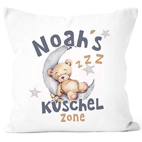 SpecialMe® Kissen-Bezug für Kinder Teddy Mond Kuschelzone Wunsch-Name personalisierte Geschenke Baby weiß 40cm x 40cm