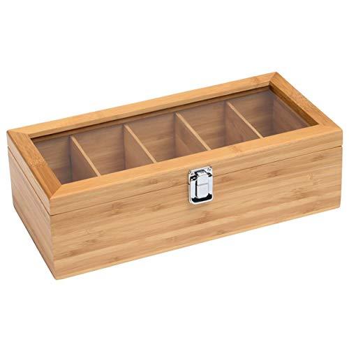 Teebox Holz 33x16x10 cm 5 Fächer Farbe Braun mit Glasdeckel