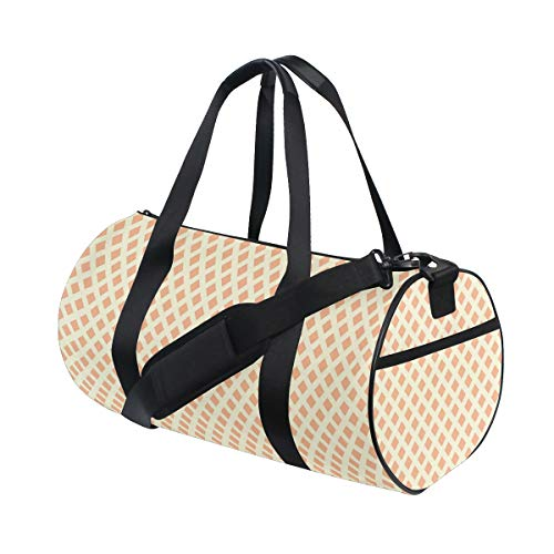 ZOMOY Sporttasche,Orange Brown Diagonal Fliesen drucken,Neue Bedruckte Eimer Sporttasche Fitness Taschen Reisetasche Gepäck Leinwand Handtasche