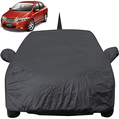 Autofact Car Body Cover for Honda City Ivtech (2009 to 2013) with Mirror and Antenna Pocket (Light Weight, Triple Stitched, Heavy Buckle, Bottom Fully Elastic, Grey)