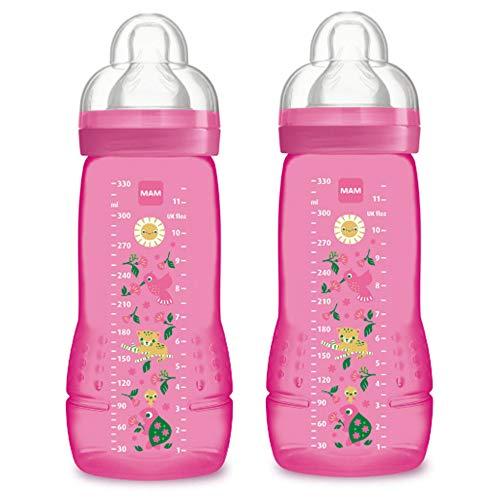 330ml Botella MAM bebé de color Segunda Edad De 6 Meses Tetina de flujo X Juego de 2 Purple, 4014795