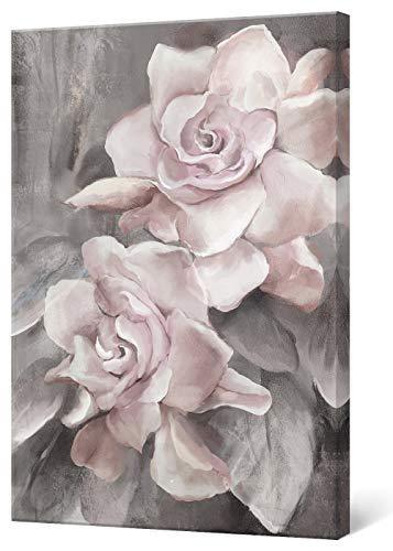 SUMGAR Lienzo impreso rosa y gris con diseño de flores, cuadros florales, cuadros modernos, obras de arte enmarcadas para recámara, baño, sala de estar, comedor decoración de pared 30 x 40 cm