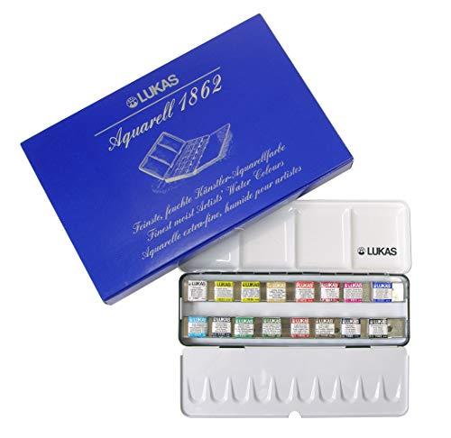 LUKAS AQUARELL 1862 - Colori ad acquerello, qualità professionale, set con 16 ciotole da 1/2 in scatola di metallo