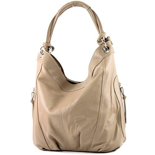 modamoda de - Z18 - ital Damenhandtasche aus Leder/Nappaleder, Farbe:Beige