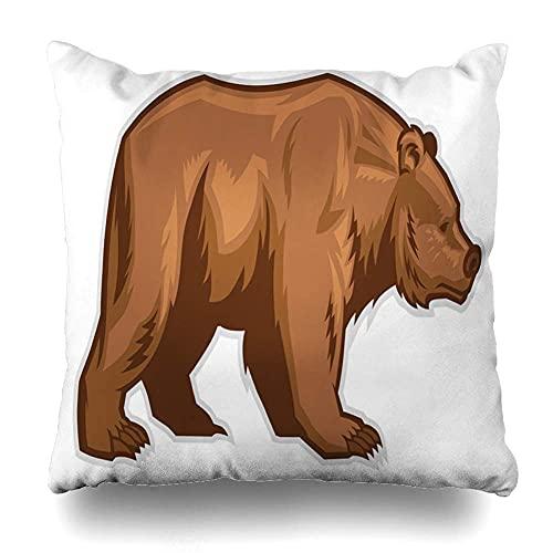 AlineAline Funda de almohada divertida con diseño de oso marrón con cremallera, 45,7 x 45,7 cm
