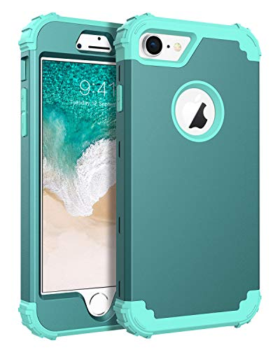 BENTOBEN Phone Case for iPhone 8/iPhone 7, 3 in 1 Shockproof Heavy Duty Rugged High Impact Resistant Hybrid Hard PC Soft Silicone Bumper Full Body Protective Case for iPhone 7/8, Light Teal