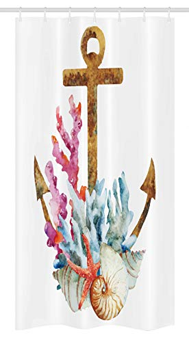 Ambesonne Anchor Stall Shower Curtain, Corals and Seaweed of Nature's Deep Sea Underwater Life and Diving in an Enjoyment Marine Print, Fabric Bathroom Decor Set with Hooks, 36' X 72', White Bronze