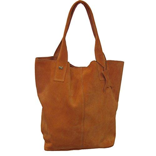 La Auténtica BAG1 - Bolso serraje afelpado naranja