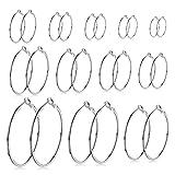 LEEQ 12 Pares de Pendientes de Aro Piercing de Oreja Aro de Orejas de Acero Inoxidable para Mujeres Chicas, 12 Tamaños, 20-75 mm