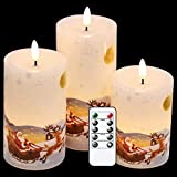 DRomance Christmas White LED Flameless Flickering Candles Battery Operated with 10-Key Remote and Timer Set of 3 Realistic 3D Wick Real Wax Holiday Flameless Pillar Candles, Santa Decal