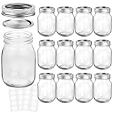 KAMOTA Mason Jars 16 OZ With Regular Lids and Bands, Ideal for Meal Prep, Jam, Honey, Wedding Favors, Shower Favors, Baby Foods, DIY Magnetic Spice Jars, 12 PACK, 20 Whiteboard Labels Included