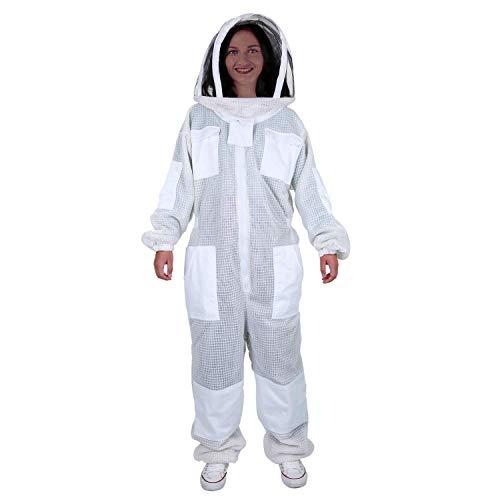 ENJOHOS - Disfraz antiavispa de abeja de algodón con bolsillo, banda elástica, parche, sombrero desmontable para apicultores contra picaduras de abejas