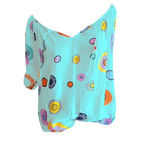 Shinehua Elegante blouses met V-hals voor dames, oversized T-shirt, lange mouwen, grote maten, tuniek-shirts, tops, bandage, kant, top, feestelijk blousenshirt, bikinitop 5XL blauw