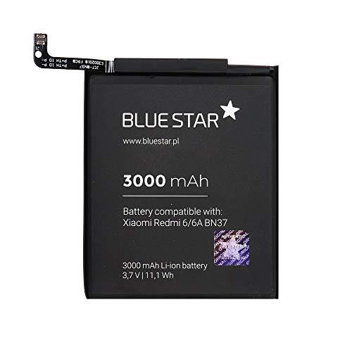Blue Star Premium - Batería de Li-Ion Litio 3000 mAh de Capacidad Carga Rapida 2.0 Compatible con el Xiaomi Redmi 6 / 6A (BN37)