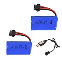 2 Pcs 6.4V 500mAh SM4P Plug Lithium Battery with USB charging cable for RC toys electric robot toy drone study machine