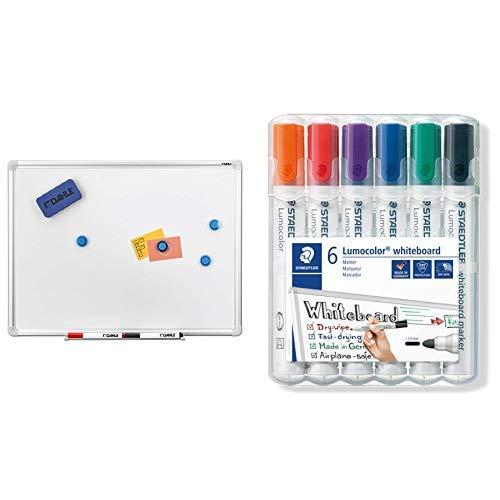 Dahle Basic Whiteboard (Beschreibbare Magnettafel in stabilem Alurahmen, 90 x 120 cm) & Staedtler Lumocolor 351 WP6 Whiteboard-Marker, Rundspitze ca. 2 mm Linienbreite, Set mit 6 Farben