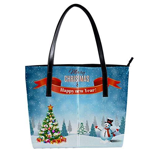 LORVIES Weihnachten Schneemann und Weihnachtsbaum, Winterlandschaft, Umhängetasche, PU-Leder, Handtasche für Damen