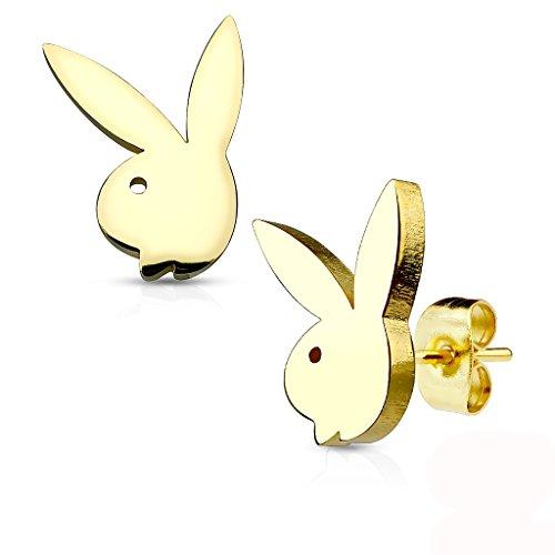 Les Plaisirs de Stella - Pendientes de acero inoxidable dorado – Conejo Playboy (License Oficial)