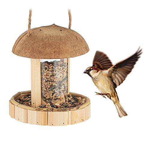 Relaxdays Vogelfutterspender Holz, zum Aufhängen, Vogelhaus für Balkon & Garten, handgefertigt, HxD: 17 x 14,5 cm, Natur