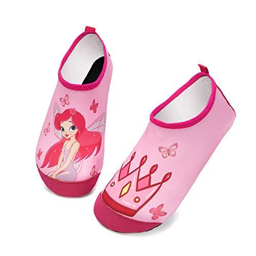 HMIYA Zapatos De Natación Niño Niña Antideslizante Zapatos de Agua Secado RáPido Respirable Escarpines de Baño Descalzo Calcetines Aire Libre Piscina de Playa Surf(Elfo de la Corona de Rosa,28/29 EU)