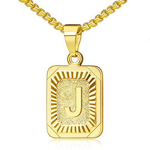 JSJOY Gold Initial Necklace for Women 14k Gold Pendant Initial Necklaces J Necklace for Men Letter Necklace for Women